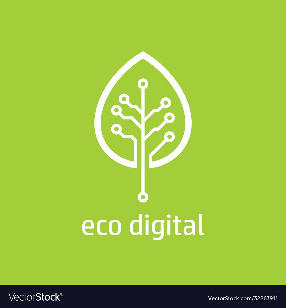 Tree leaf icon in digital style