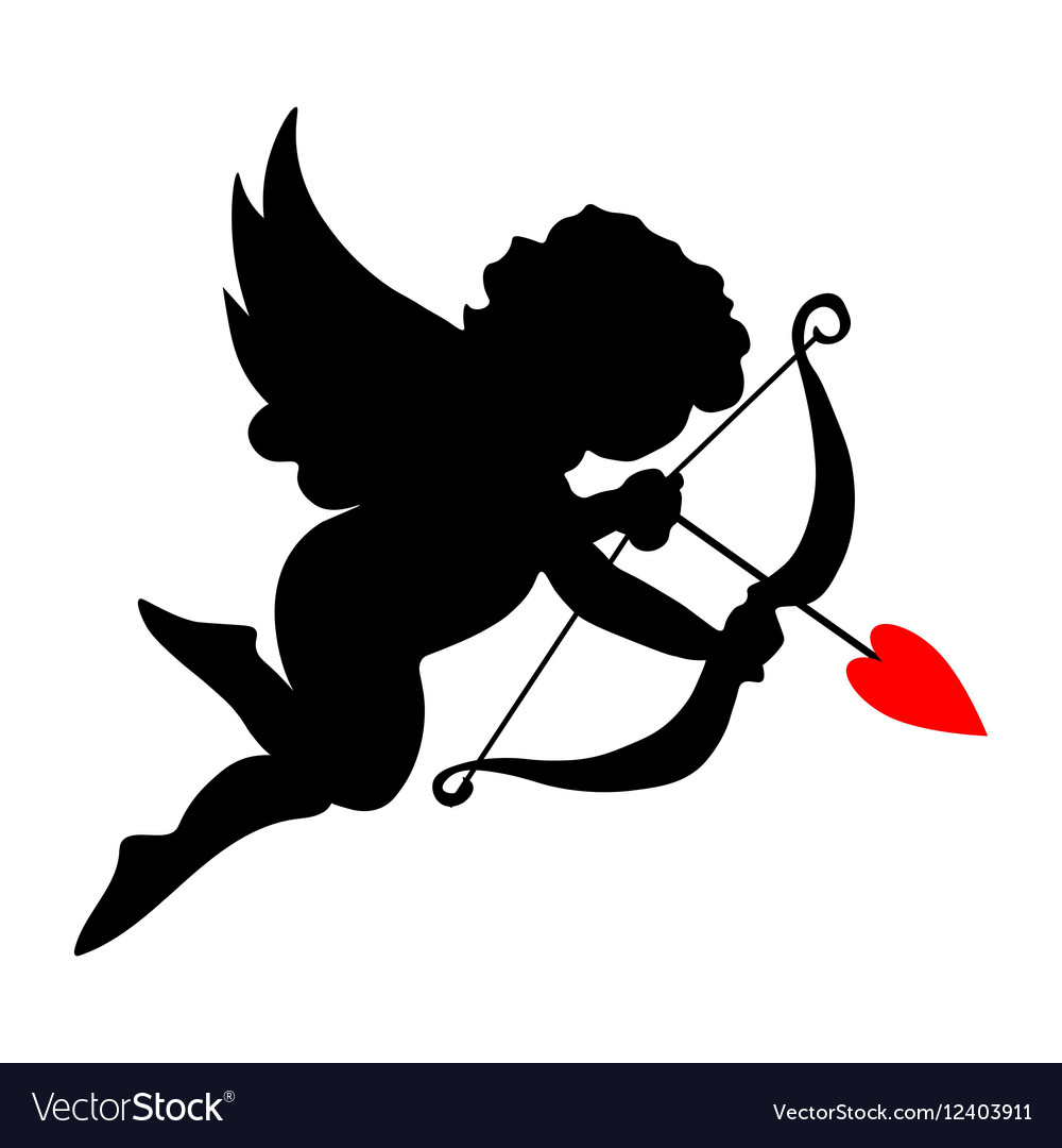Valentine cupid icon with arrow and wings