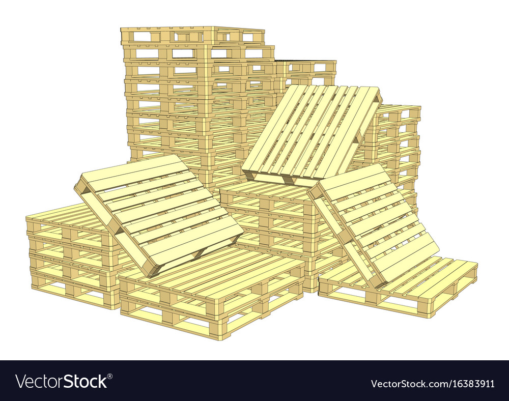 Wooden pallets isolated on white