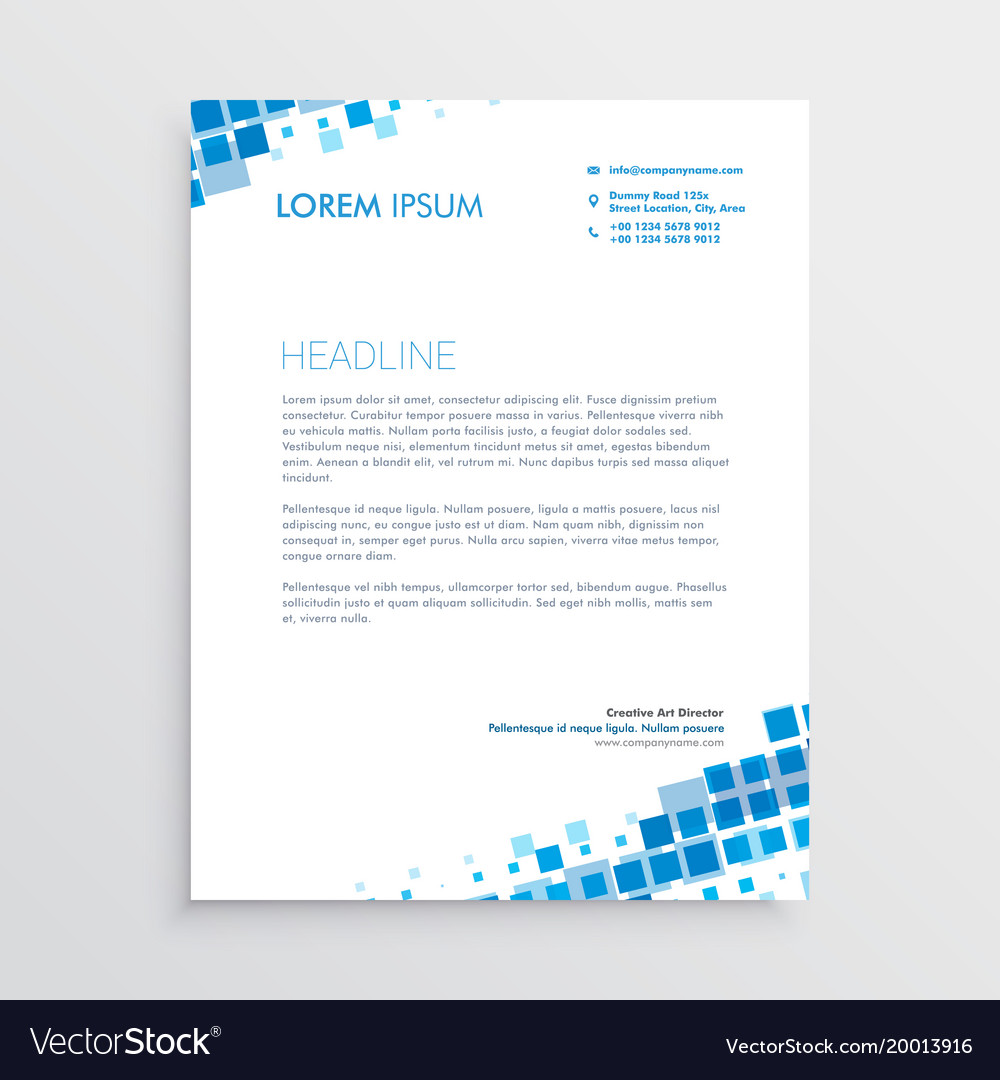abstract blue creative letterhead design vector image