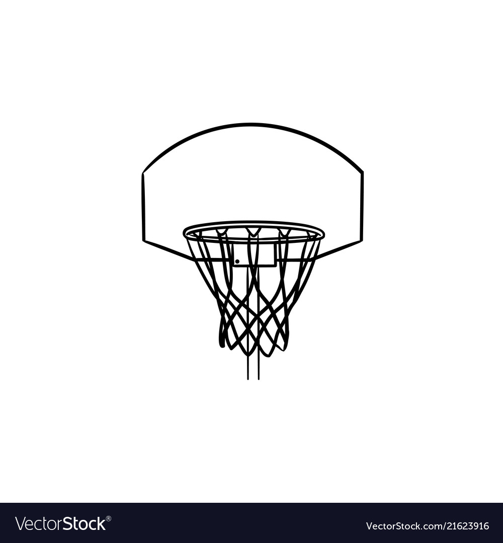 Basketball hoop and net hand drawn outline doodle
