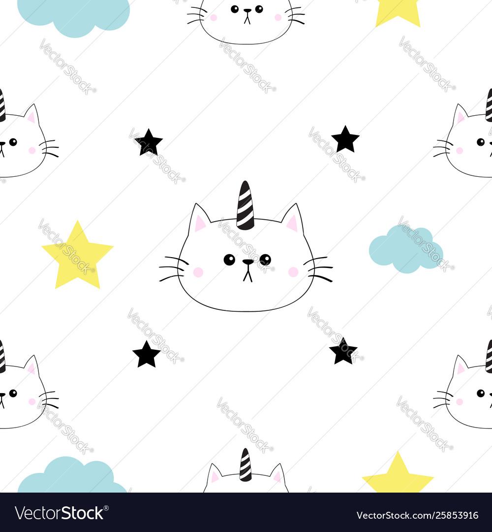 Cat unicorn horn head hands cloud star shape cute