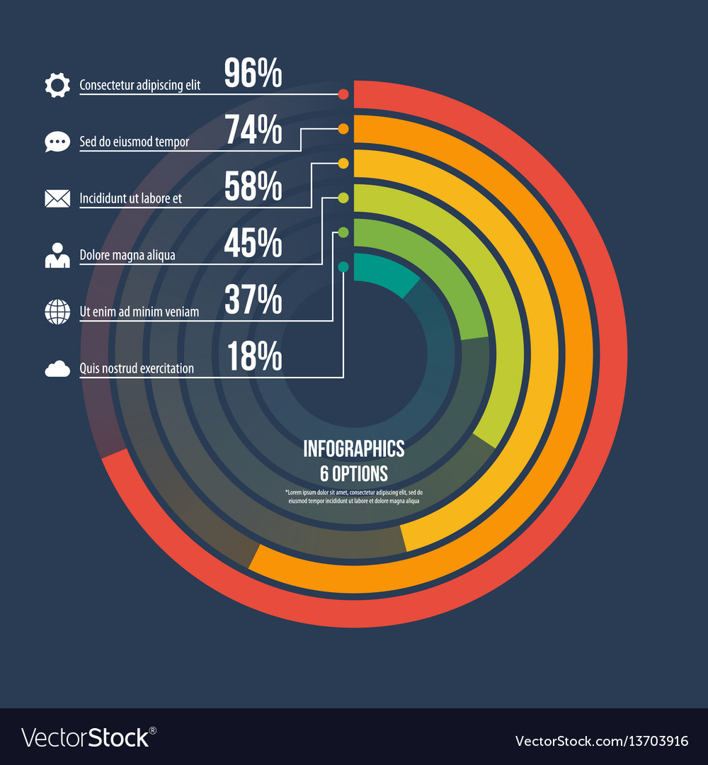 Circle informative infographic template 6 options
