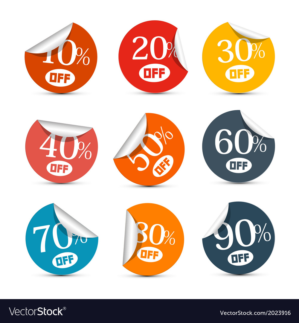 Colorful Discount Stickers Labels Set