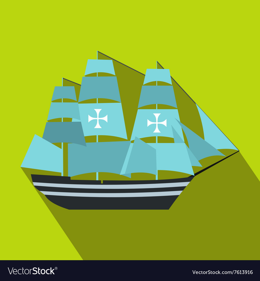 Columbus ship flat icon vector image