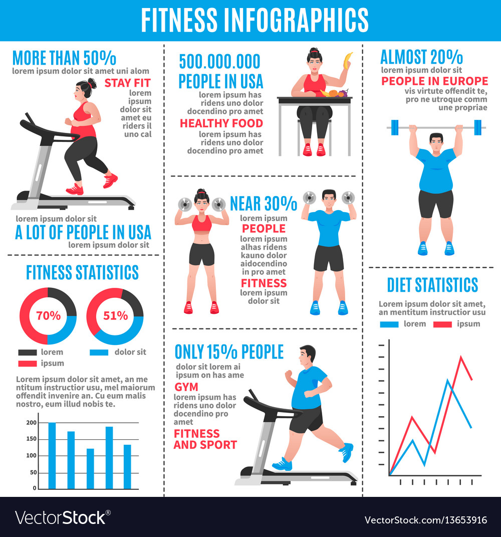 Fitness colored infographics