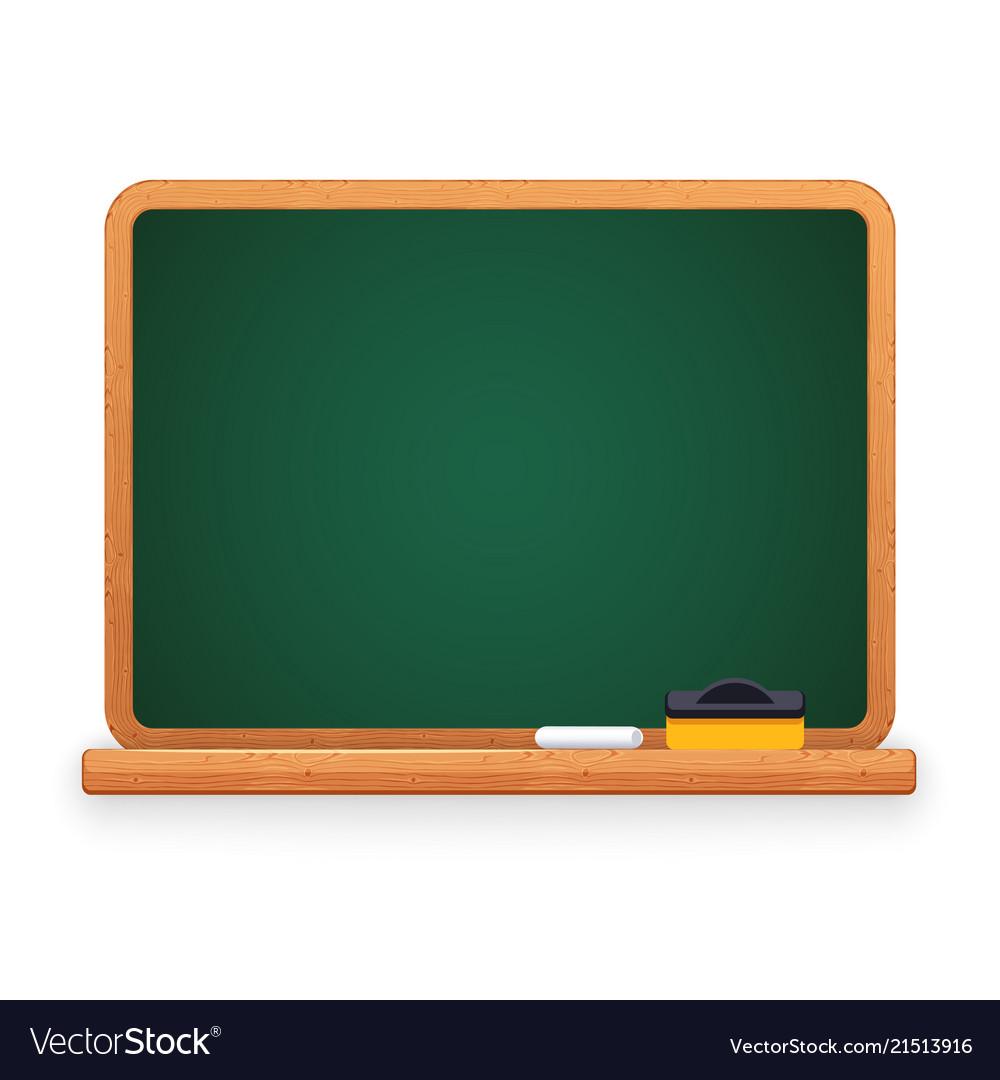 Green blackboard with chalk and sponge