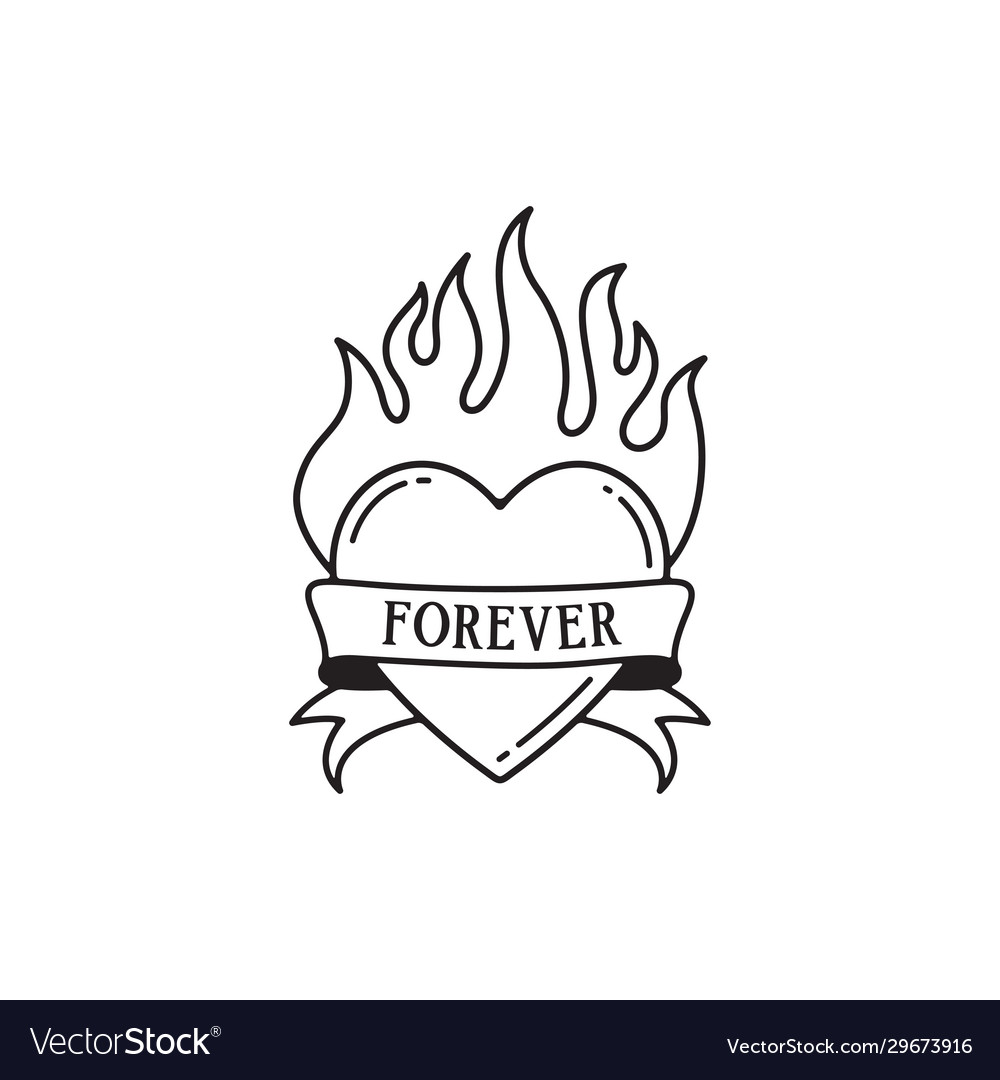 Heart and fire tattoo with wording forever