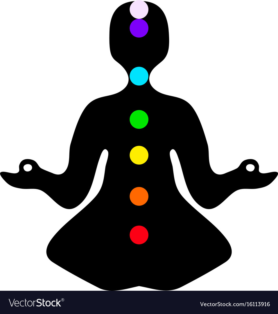 Meditation pose with chakras