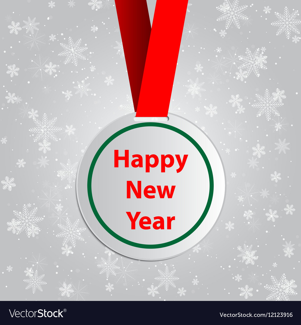 new year wishes with round red label template vector image