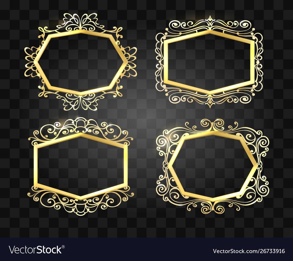 Ornate glow golden frames set
