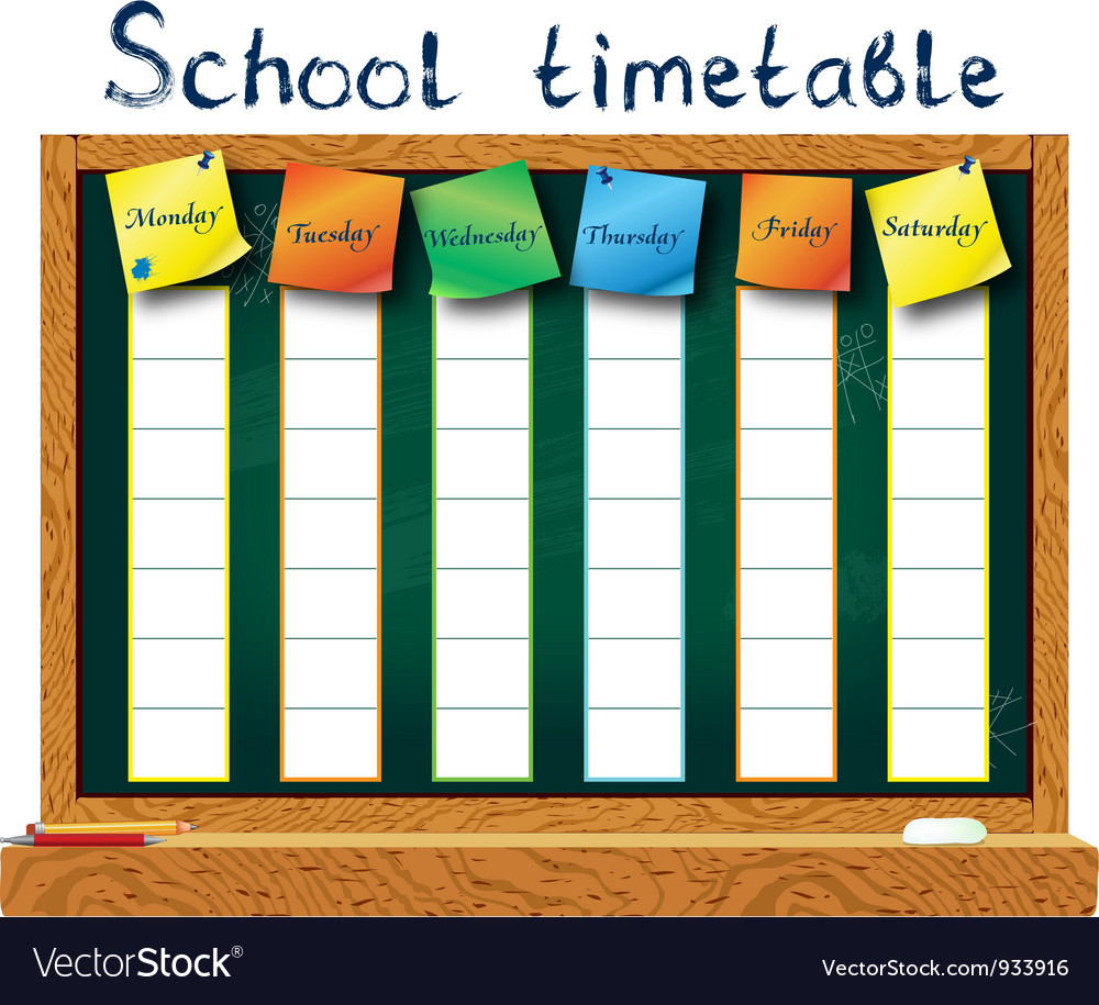 schedule for the student royalty free vector image