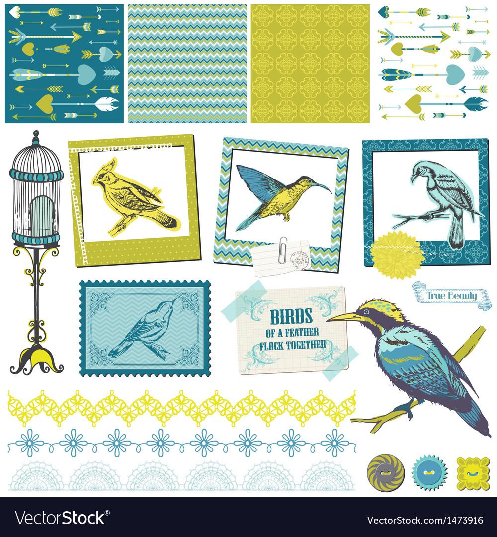 Scrapbook Design Elements - Vintage Birds Set
