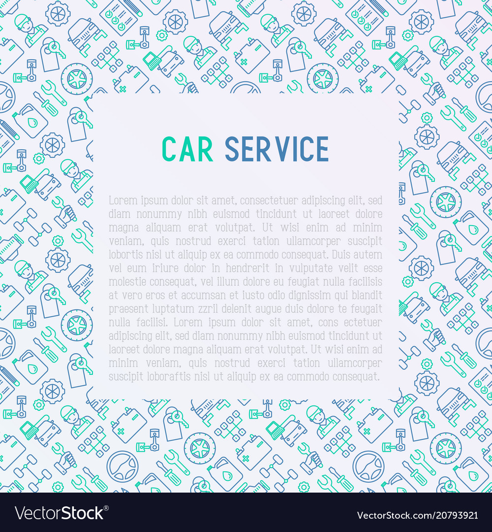 Car service concept with thin line icons