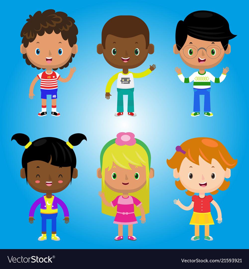 Children kids people black white family cartoon bo