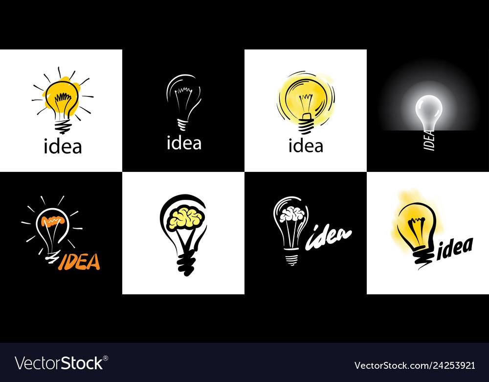 Logo of light bulb with concept ideas