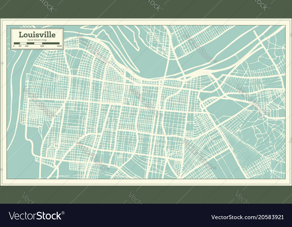 Louisville Usa Map.Louisville Kentucky Usa City Map In Retro Style Vector Image