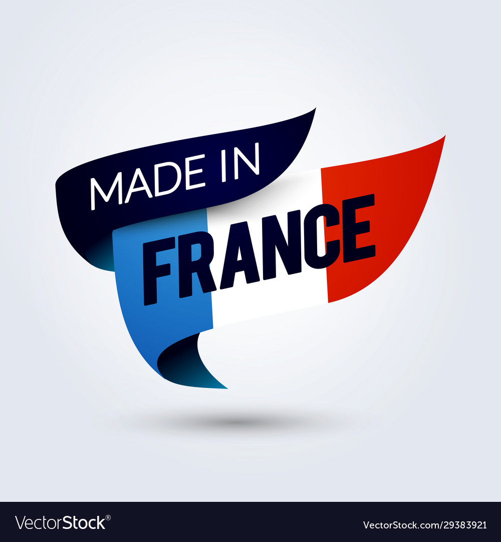 Made in france flag ribbon with french color