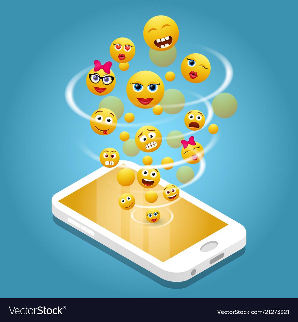Mobile phone emoji realistic
