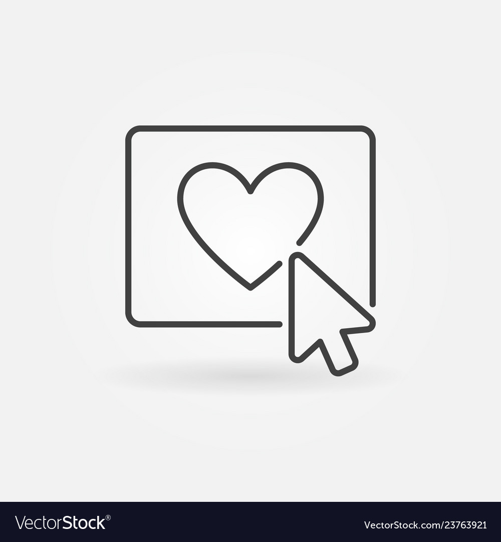Mouse click on heart button concept line