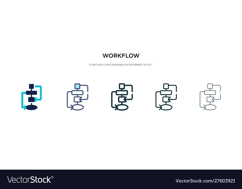 Workflow icon in different style two colored and