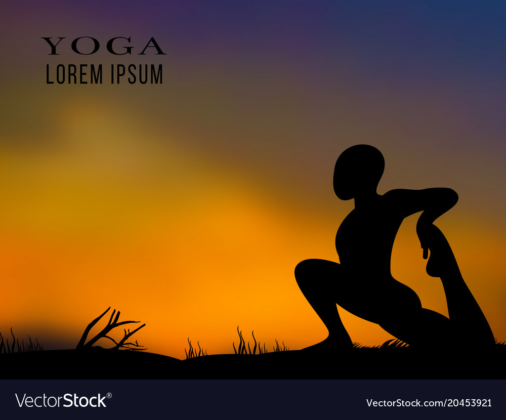 Yoga Training On Sunset Background Royalty Free Vector Image