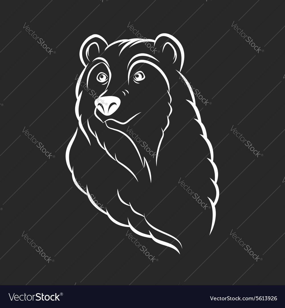 Bear head logo template emblem on black background