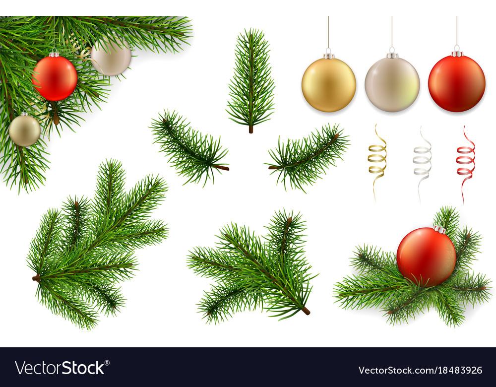 Christmas Branch Vector.Christmas Branch And Ball Set