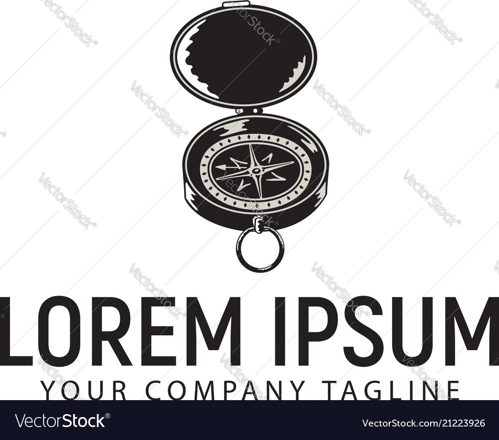 Compass retro vintage logo design concept template