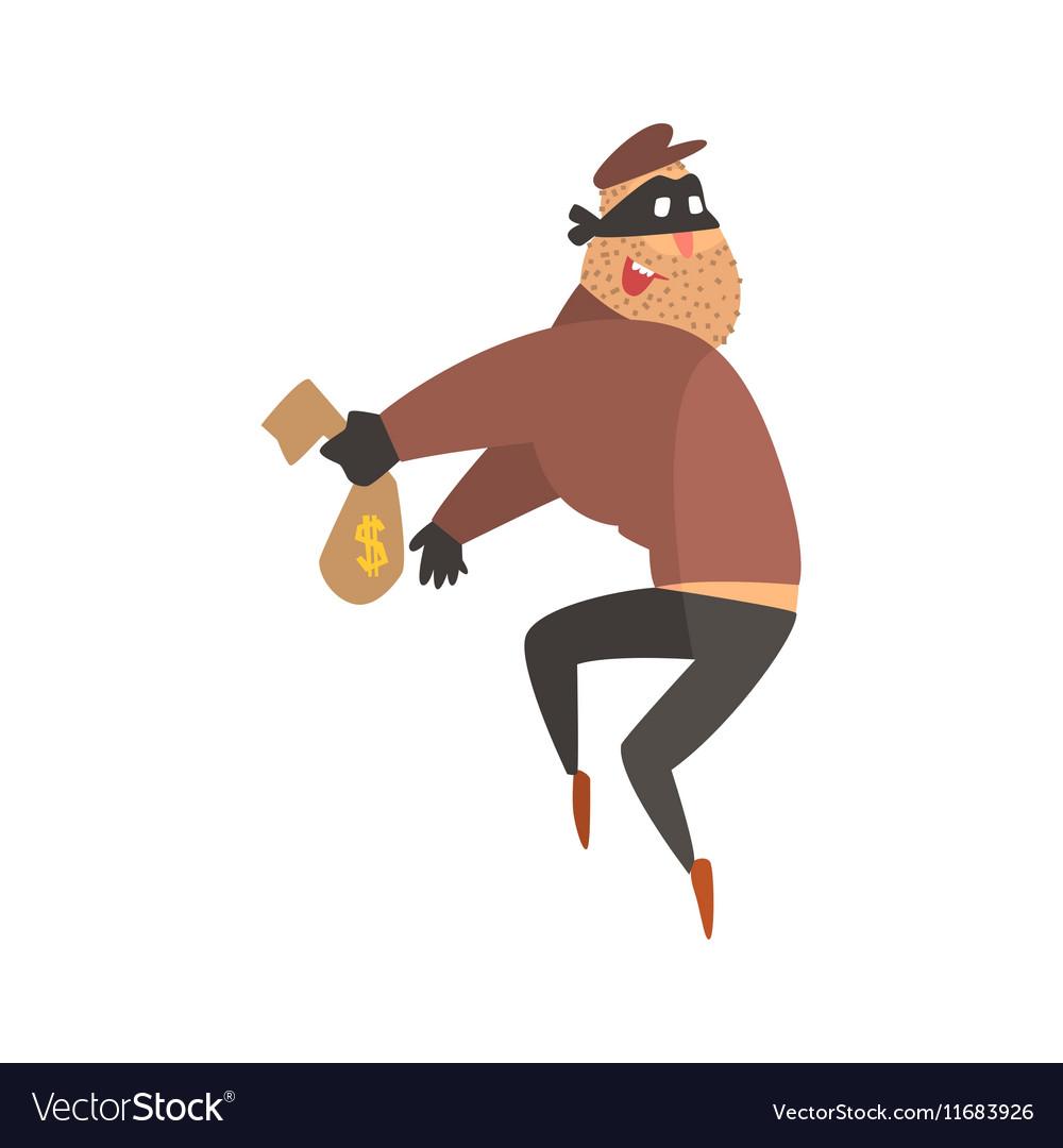 Criminal Wearing Mask Holding Money Cloth Bag