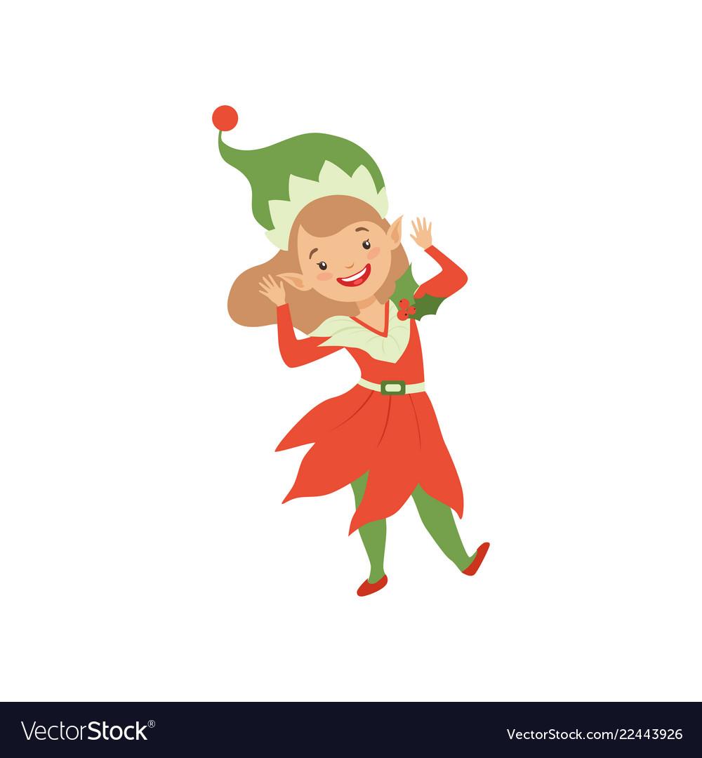 Cute happy christmas elf girl little santa claus Vector Image