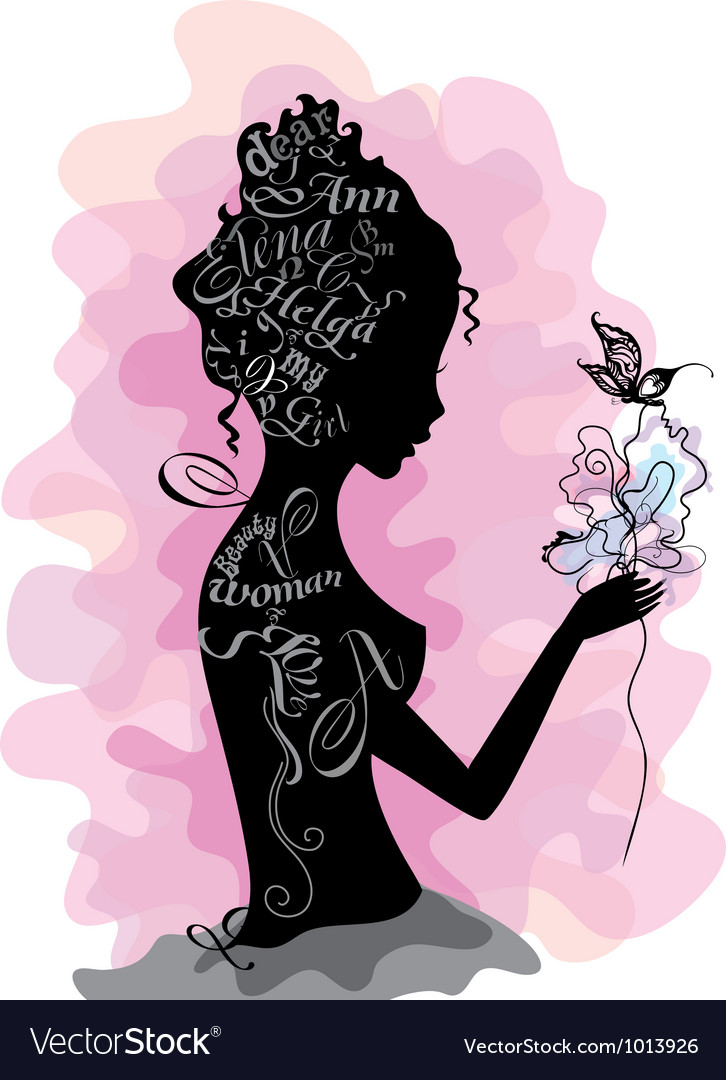 Girl silhouette made from letters
