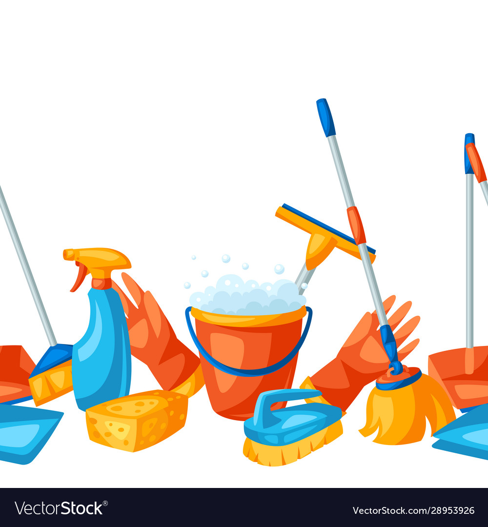 Housekeeping seamless pattern with cleaning items