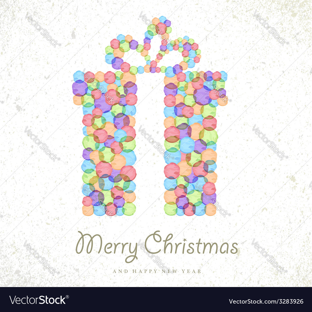 Merry Christmas Watercolor Gift Card Background Vector Image