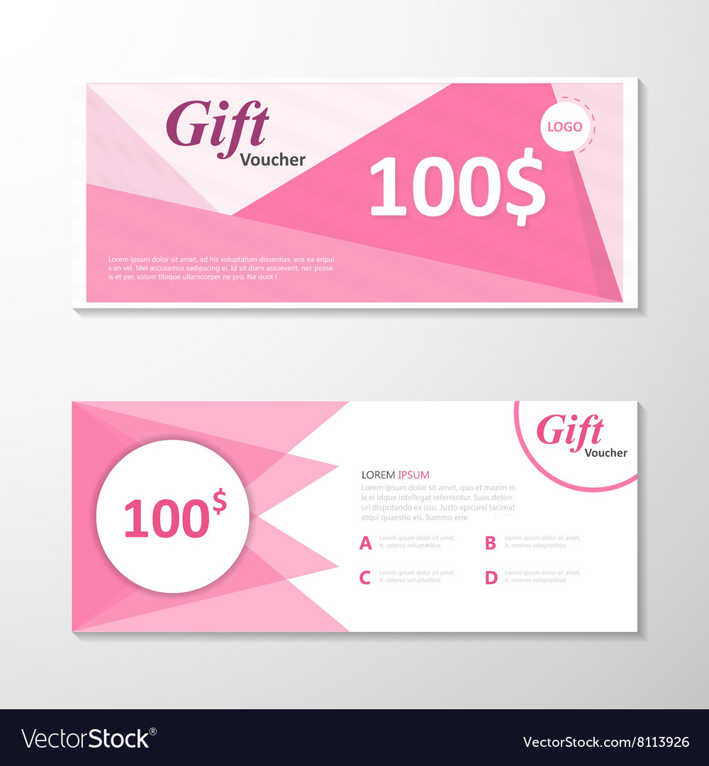 pink gift voucher template layout design set vector image