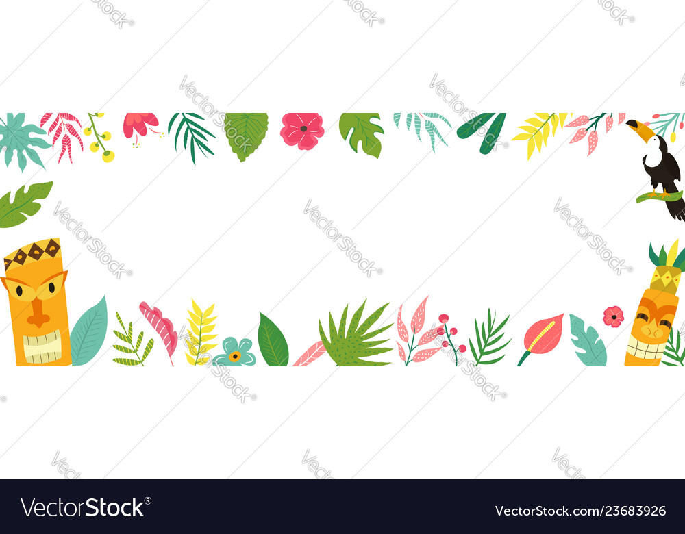 Trendy hawaiian summer tropical banner with leaves