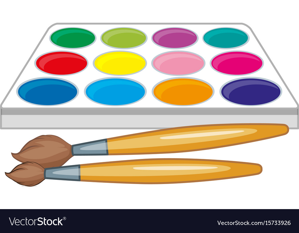 watercolor palette and two paintbrushes royalty free vector  vectorstock