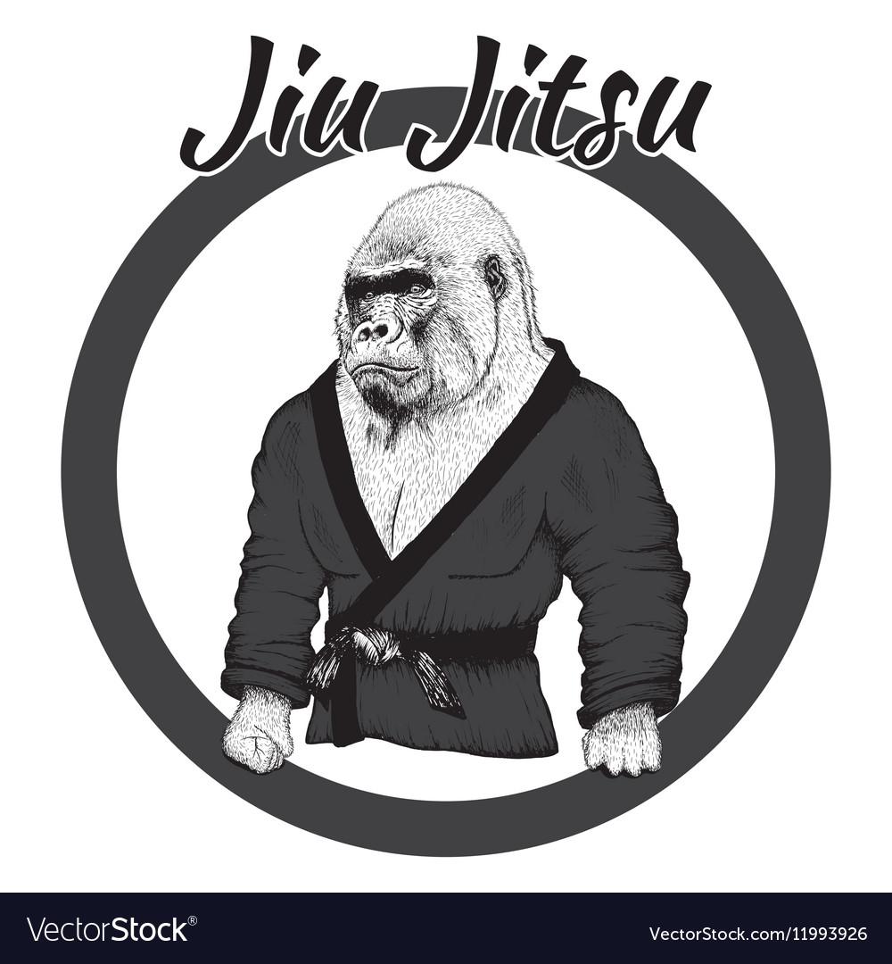 Wrestler gorilla dressed in kimono vector image