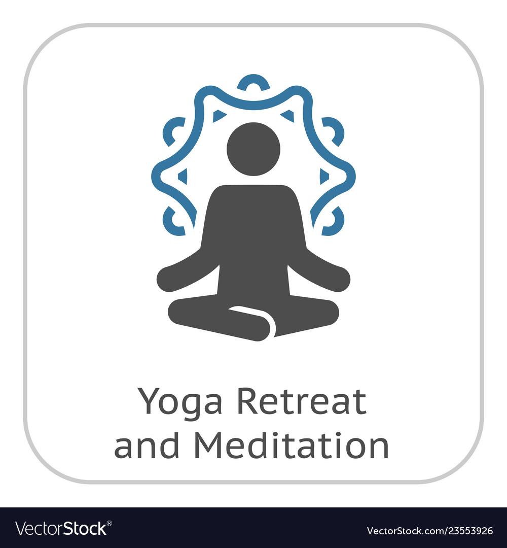 Yoga retreat and meditation icon flat design