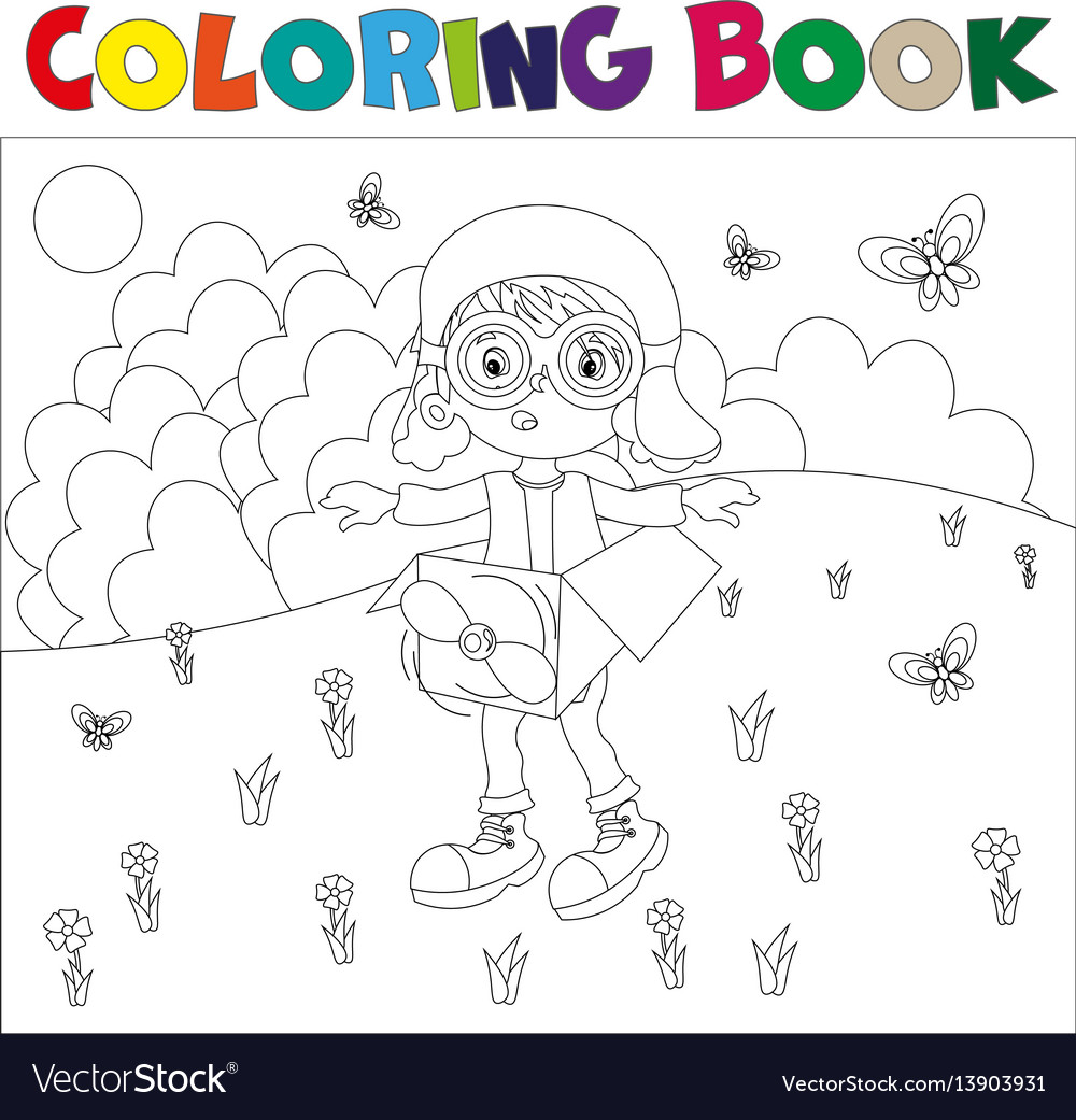 Black and white book-coloring the boy plays in the