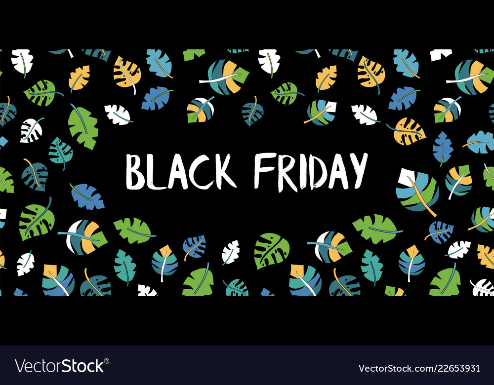 Black friday sale text hand drawn leaves