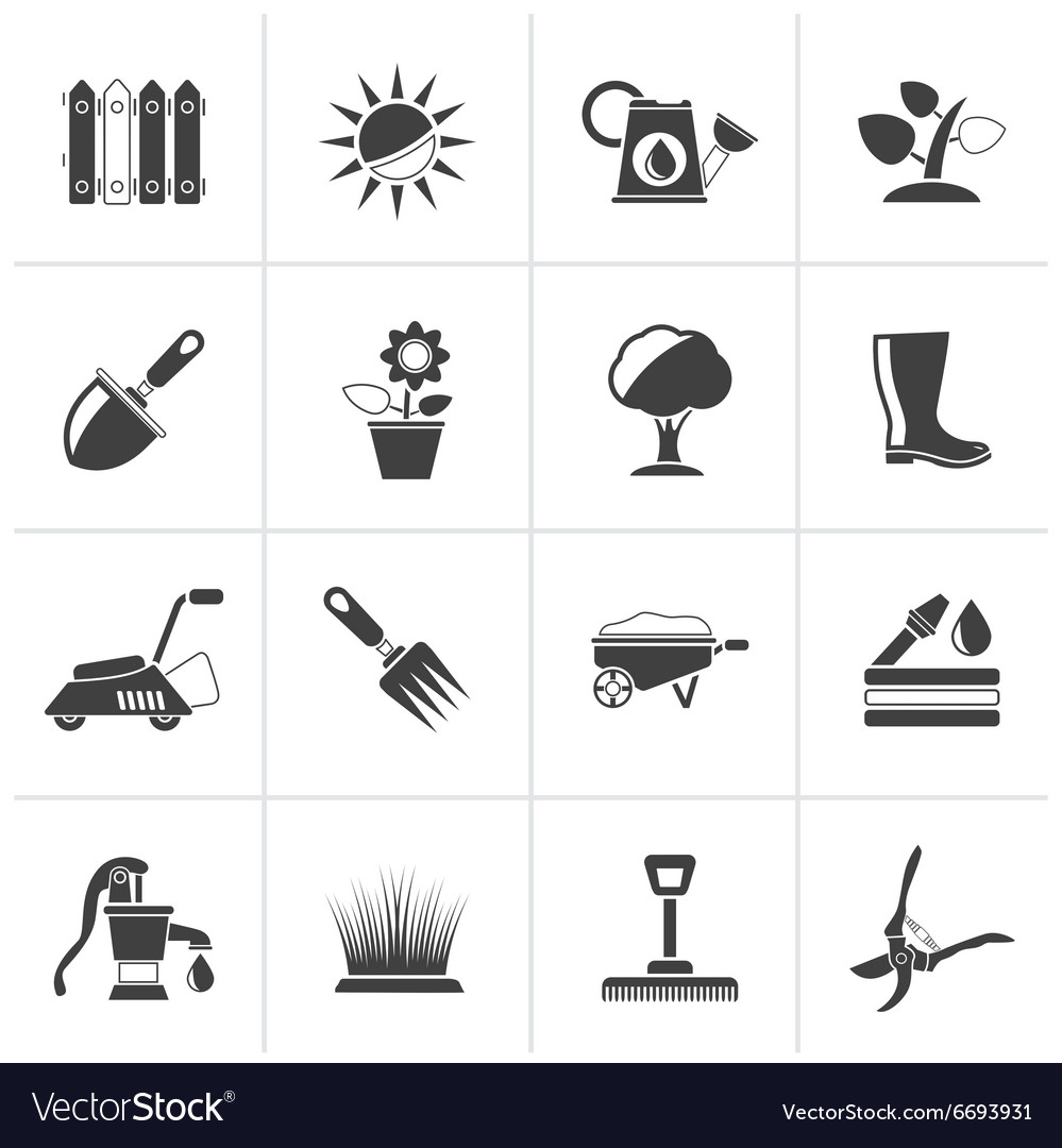 Black Gardening tools and objects icons