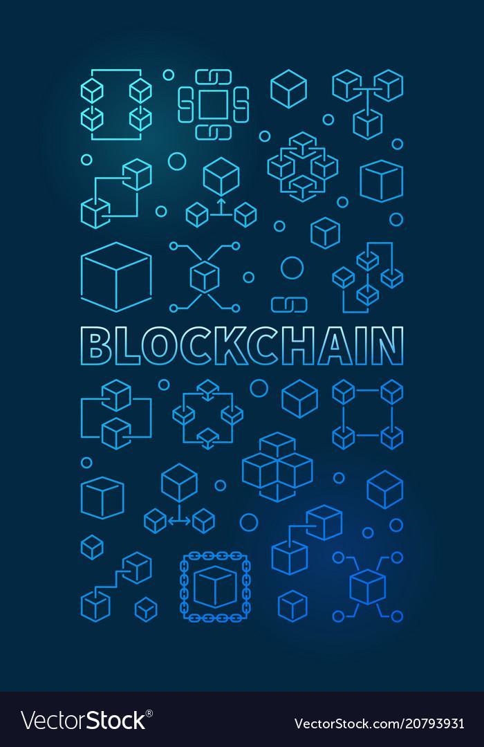 Blockchain technology blue vertical outline banner vector image