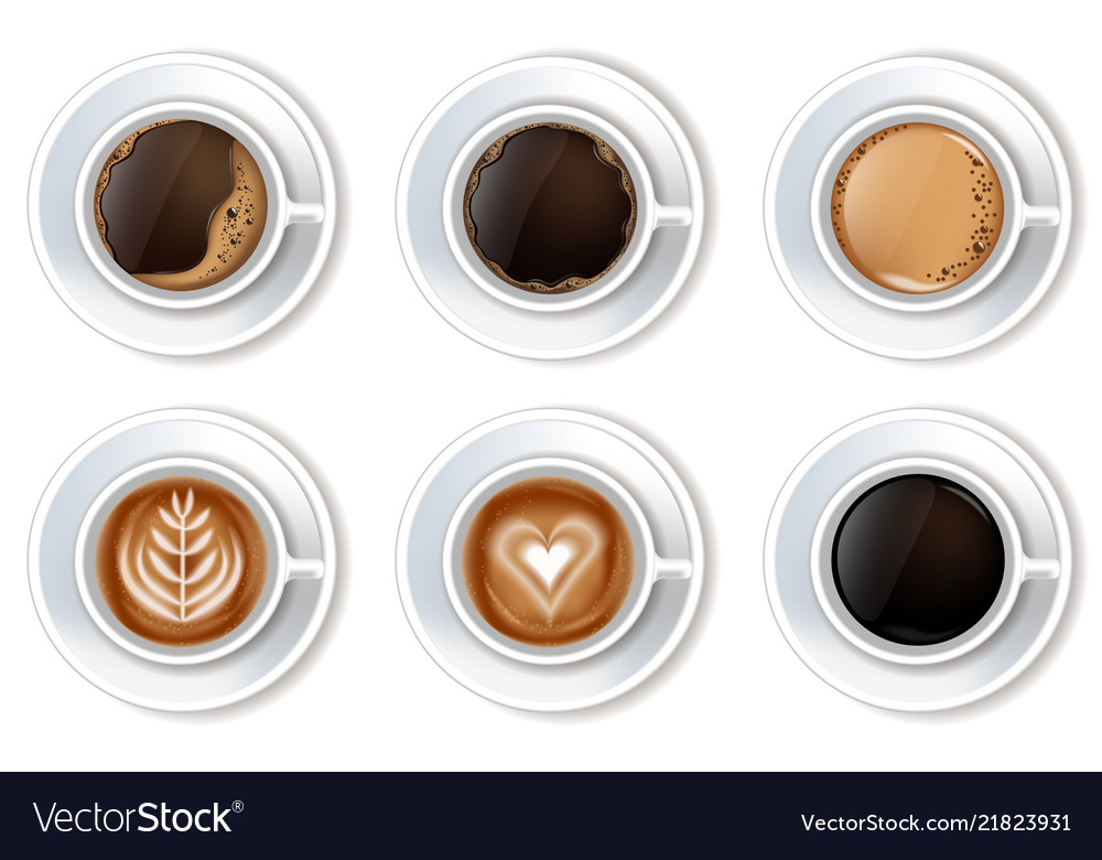 Coffee cups set realistic top view 3d