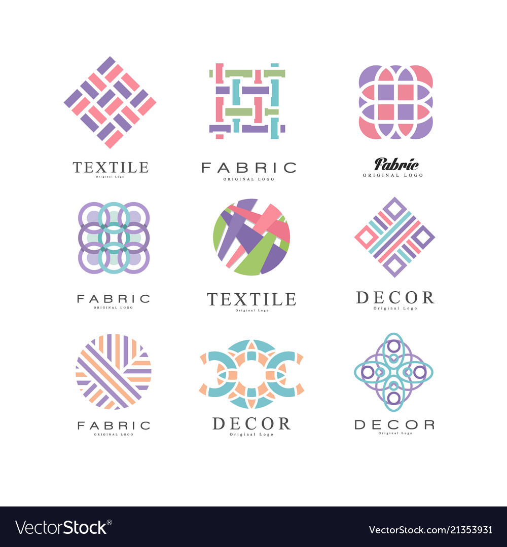 Flat set of abstract logos for fabric