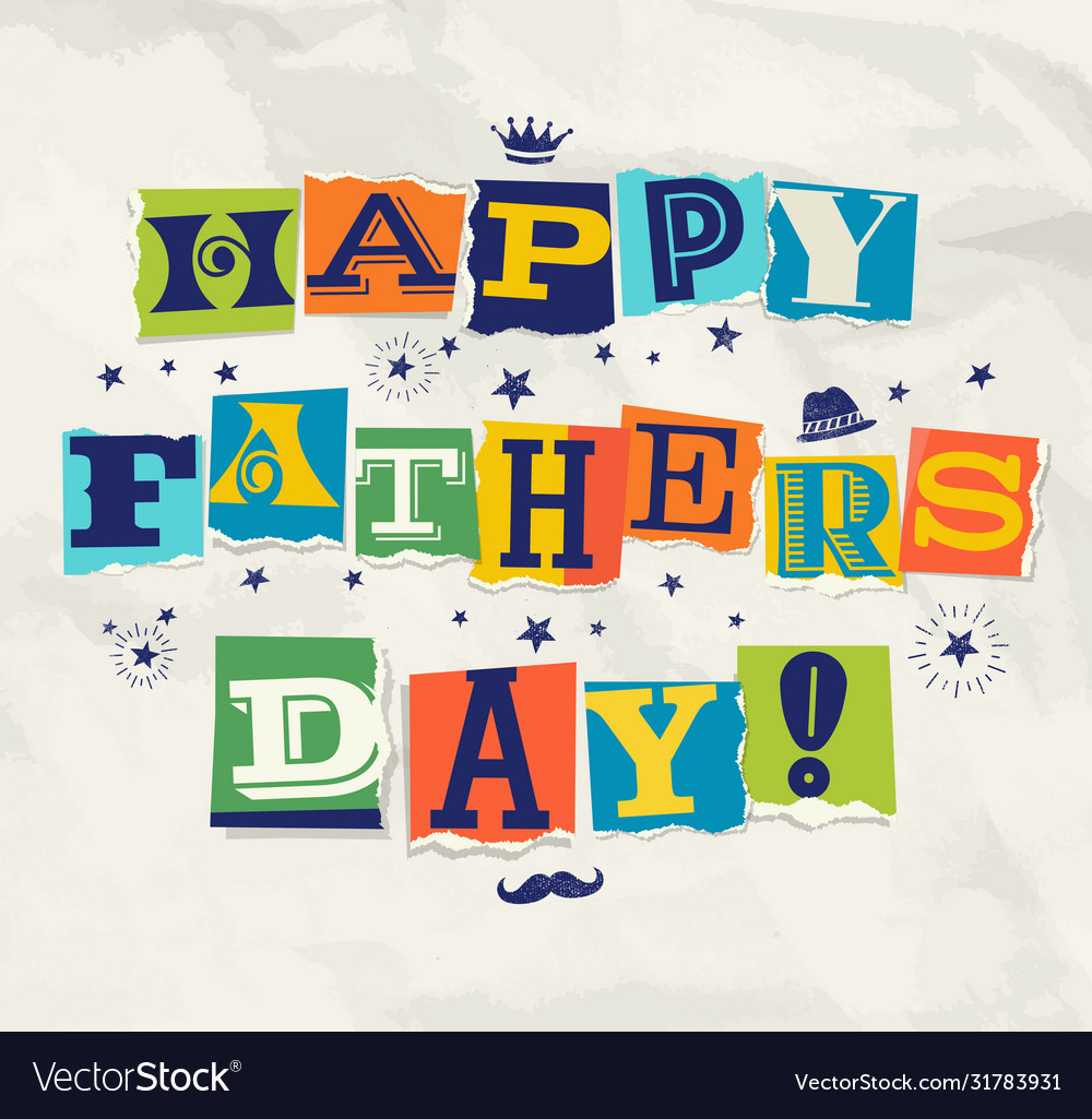 Happy fathers day cut out letters doodles