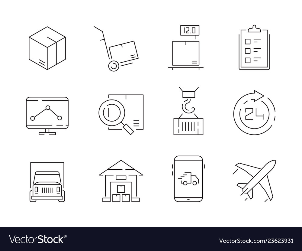 Logistic icon set warehouse delivery boxes vector