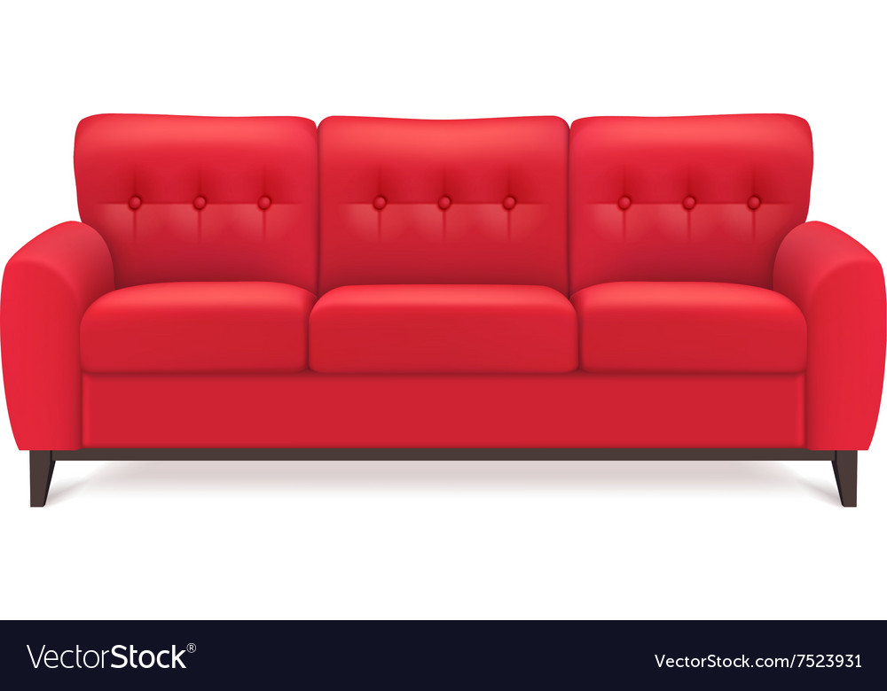 Red Leather Sofa Realistic