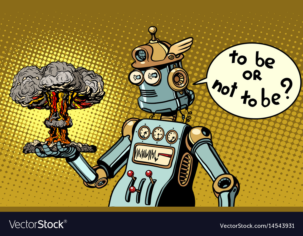 Retro robot and a nuclear explosion war and