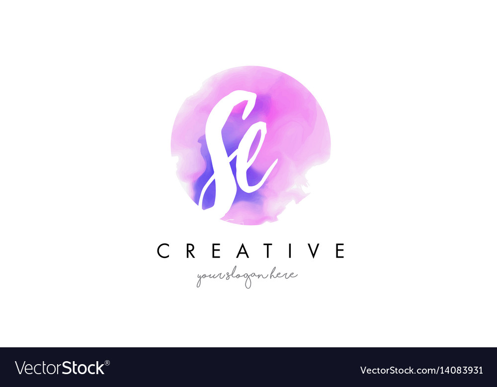 Se watercolor letter logo design with purple vector image